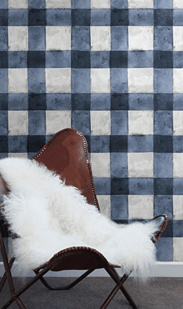 Blue plaid peel and stick wallpaper